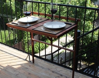 Balcony foldable table,exterior hardwood , deck table, outdoor furniture, outdoor workstation,eat outdoor, foldable table , porch table