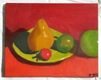 Fruit Still Life on Red Background, original oil, 11x14