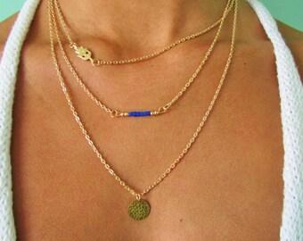 Layered Hamsa Necklace