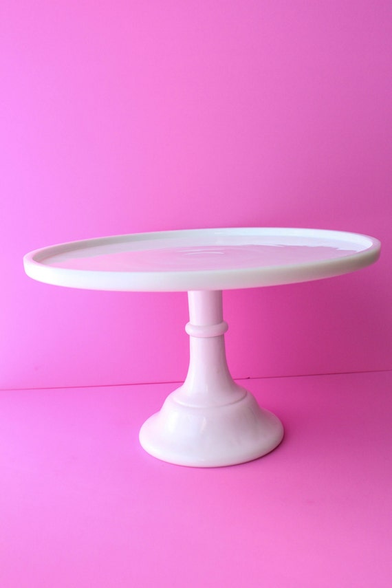 Cake Stand Home Decor : CAKE STAND / white glass / wedding decor / by ButtercupBlossom
