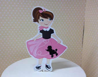 50's Sock Hop Party Cake Topper Decoration