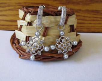 Sterling Silver CZ and Synthetic Pearls Dangling Earrings