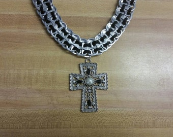 Handmade Black Paracord Pop Tab Necklace with Cross