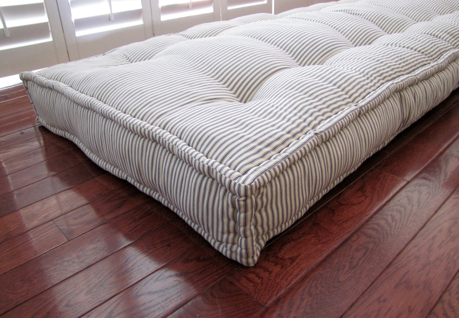 How To Make Extra Large Floor Pillows : Custom Cushions Blue Ticking Stripe French Mattress