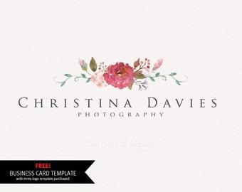 Photography logo - premade logo design - watercolor logo watermark logo design - DIY psd logo template.