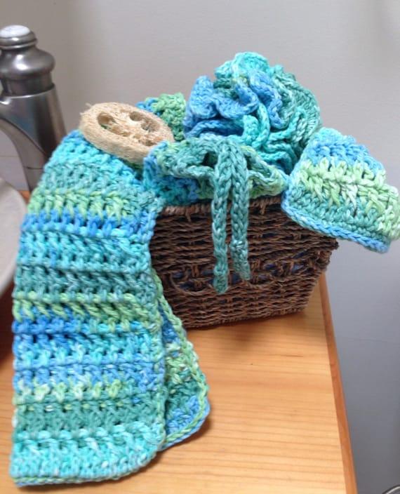 Crochet Spa Bath Set Loofah Soapsaver Washcloth Towel