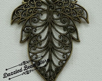Antique Bronze pewter LEAF PENDANT 72mm x 56mm