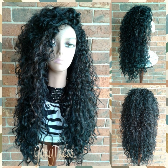 ... Long Beach Curly Half Wig, Kinky Curly Wig, Long Black Wig \/\/ COURAGE