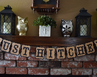 Just Hitched Banner--Wedding Banner/Decor/Photo Prop