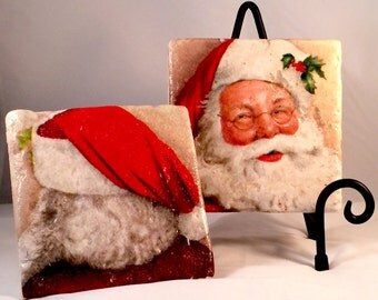 Jolly Santa Coaster Set (Set includes 4 Tiles )