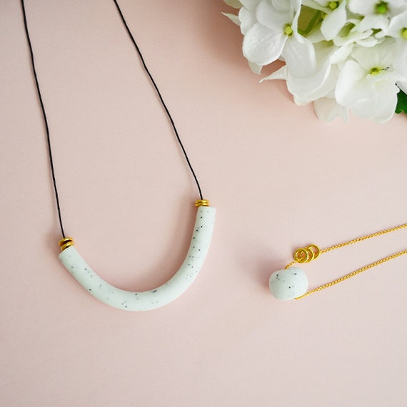 Items similar to white marble curved bar necklace modern for How to make marble jewelry