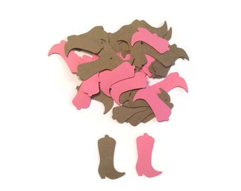 100 Pink and Brown Baby Cowboy Boots Confetti, Die Cut Boots, Cowgirl birthday, Country and Western Party, Table Confetti, Country Shower