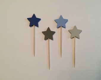 24 blue and grey star toothpicks, baby shower, birthday party, wedding, graduation, retirement, appetizer picks, food picks, cupcake topper