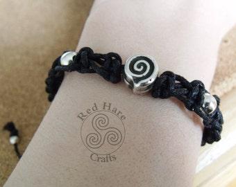 Black Macrame Cord and Spiral Bead Bracelet.