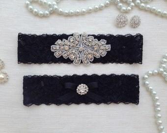 wedding garter set, black lace bridal garter set, rhinestone and black bow