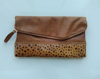 Leopard Fold Over clutch, leopard print leather clutch, leopard calf hair leather clutch, cow hide leather clutch, leather