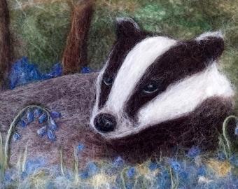 Badger in Bluebell Woods - Original Felt Art - Mounted and Framed
