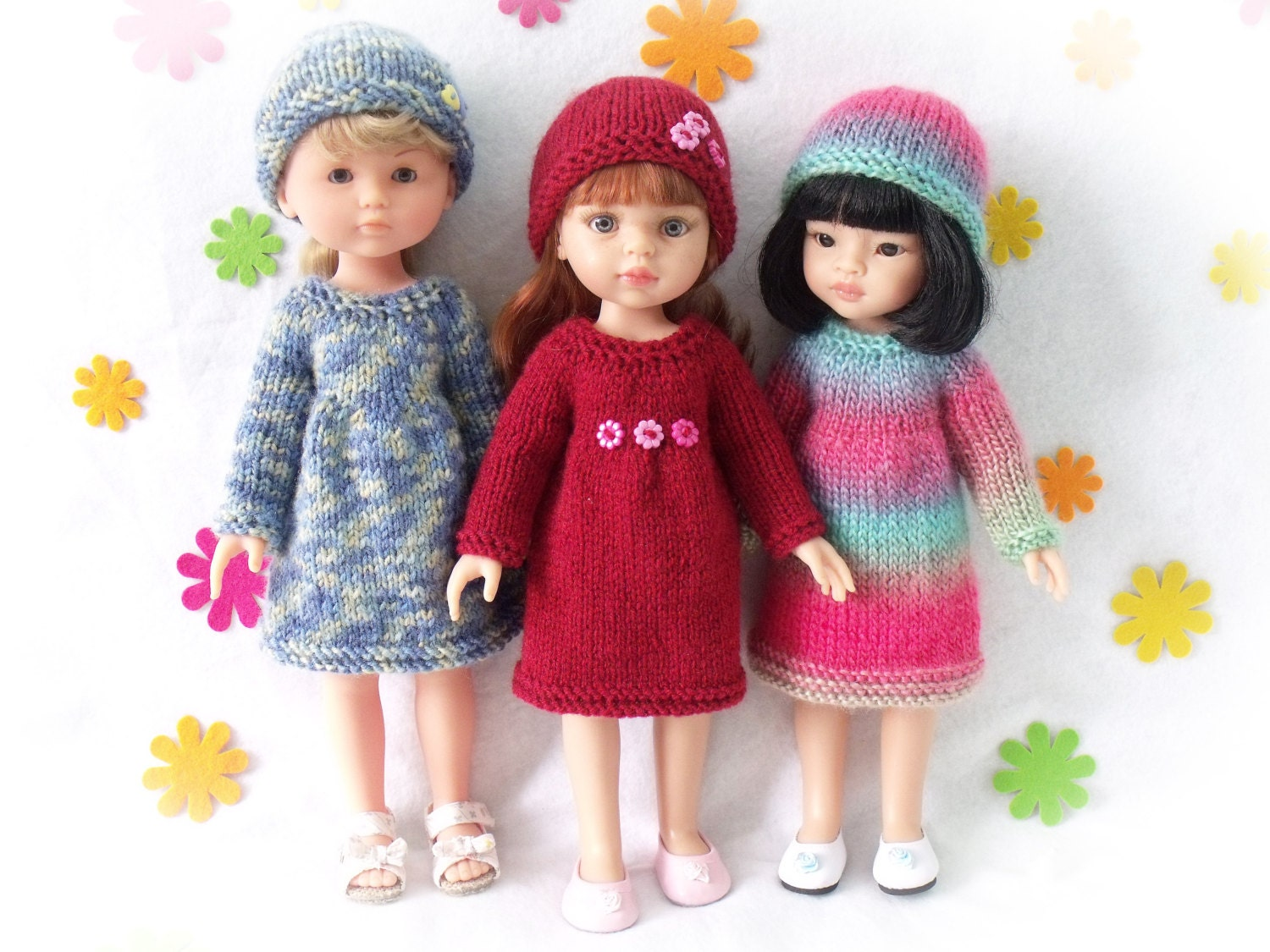 Knitting pattern for Dress and Hat for Paola Reina doll