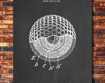 Golf Ball Patent Print Art 1902