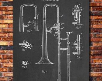 Slide Trombone Patent Print Art 1902