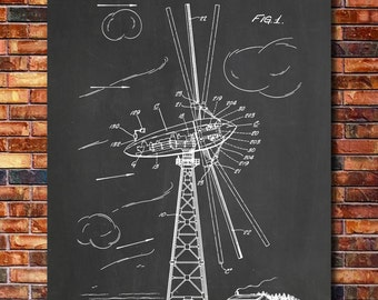Wind Turbine Patent Print Art 1944