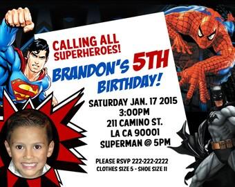 Superheroes Birthday Invitation - Digital File -  Personalized