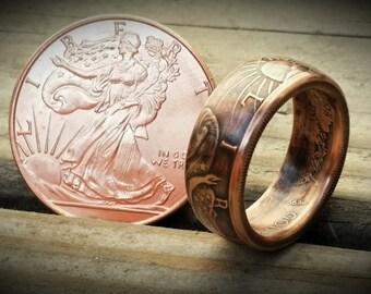 Walking Liberty Handcrafted .999 Fine Copper Ring 1/2oz Bullion.