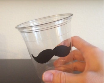 Mustache Party Cups - Mustache Bash - Little Man Birthday Party - Stache Bash - Moustache Disposable Plastic Cup - Bachelor Party Cup Set
