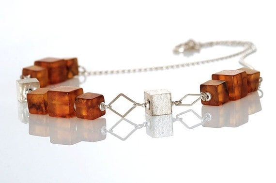 Amber and Silver Cube Necklace from Anna Bujak
