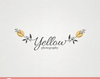 Custom Premade Fashion Photography Logo Design - Yellow Floral Logo FP03