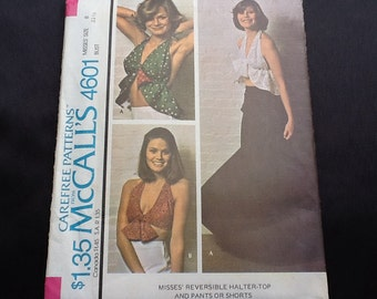 McCall's pattern 4601. Vintage uncut 1975 misses' reversible halter tops with pants or shorts. Size 8