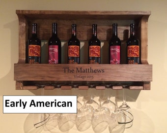 6 Glass Personalized Handmade Stained Wood Wine Rack