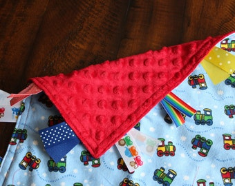 Personalized Tag Minky Sensory Ribbon Blanket Lovey- Trains