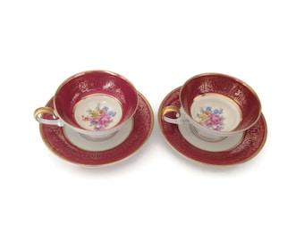 Tirschenreuth Teacups in Burgundy and Gold Porcelain