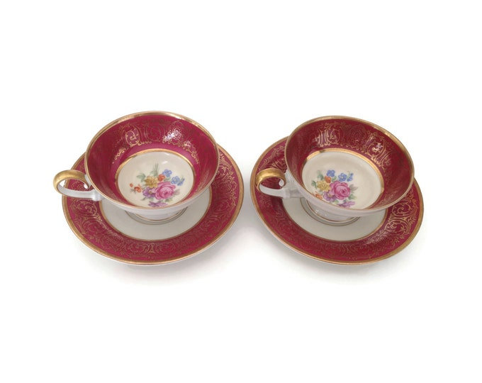 Tirschenreuth Teacups in Burgundy and Gold Porcelain