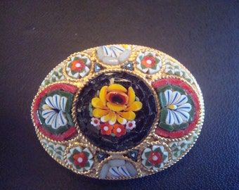 Oval Micro Mosaic Brooch or pin