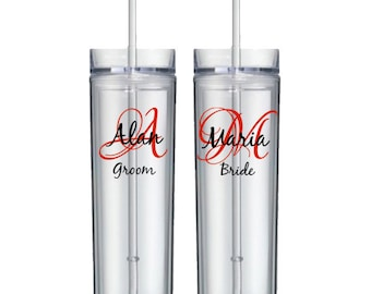 personalized wedding acrylic tumbler - initial, name, and title - acrylic skiny tumbler, bpa free, groom, bride, bridesmaid - single cup
