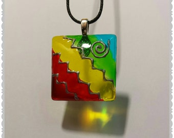 Hand painted Rainbow glass pendant necklace