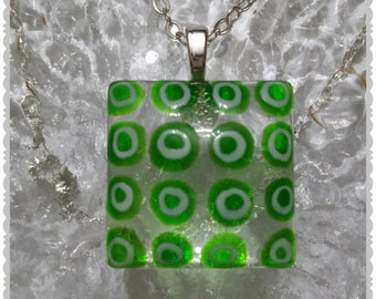 Hand painted glass pendant necklace with silver plated 18 Inch chain