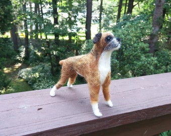 Boxer needle felted handmade wool dog