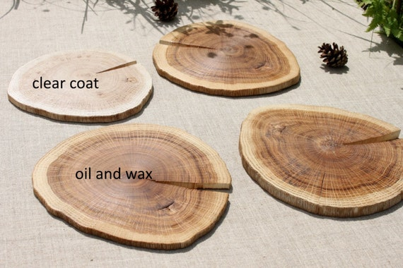 Coasters oak rustic decor centerpiece placemat by for Diy rustic coasters