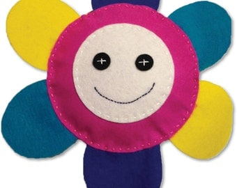 Felt Flower Power Pillow - PDF download of instructions and pattern.