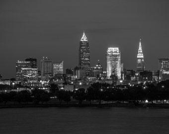 Black and White Cleveland Skyline **HIGH-QUALITY** shot by Award Winning Photographer Andrew Gacom