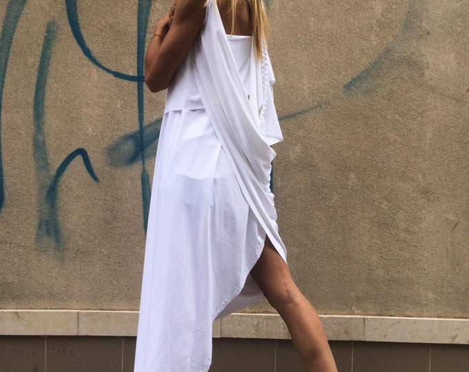 Extravagant White Tunic Top, Asymmetric Long Tunic Top, Sleeveless Loose Top, Party Top by SSDfashion