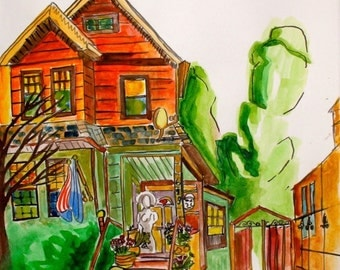 Drawing, architecture, painting, original, no pressure, House, East Flatbush, Brooklyn, New York City