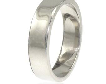 5mm Men's Wedding Ring in 18k White Gold - Eco Friendly - Handmade to Order
