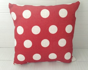 Red Polka Dot Pillow Cover  *ON SALE