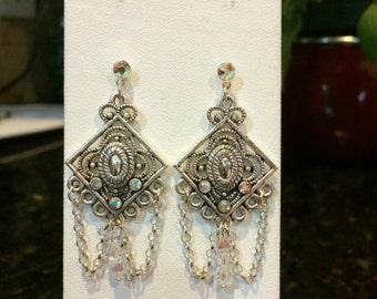 Swarvoski Aurora Borealis Crystal Earrings