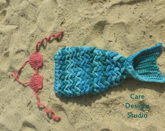 Mermaid Tail Photo Prop with Shell Bikini Crochet Set