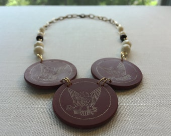 "Recycled vintage poker chip necklace, eagle, ""BILLIE"""